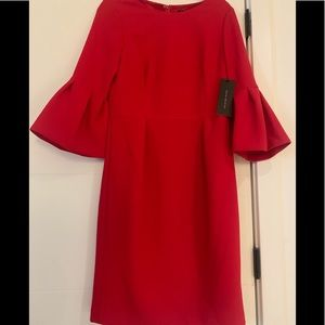 David Meister Red 3/4 sleeve dress